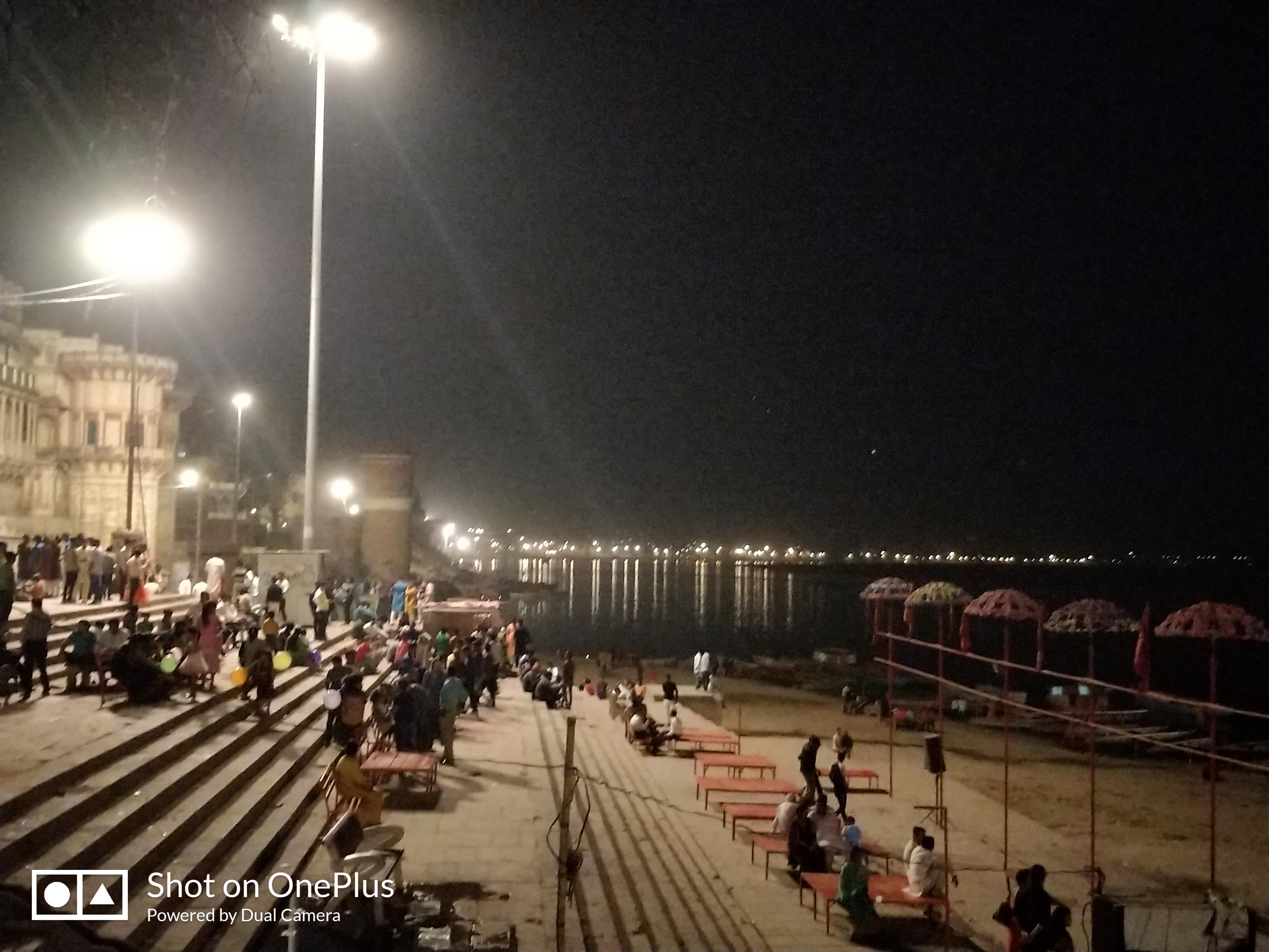 Ghats illuminated during night