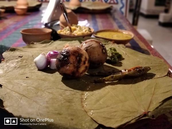 Baati or Litti choka meal at Baati Choka restaurant in Varanasi