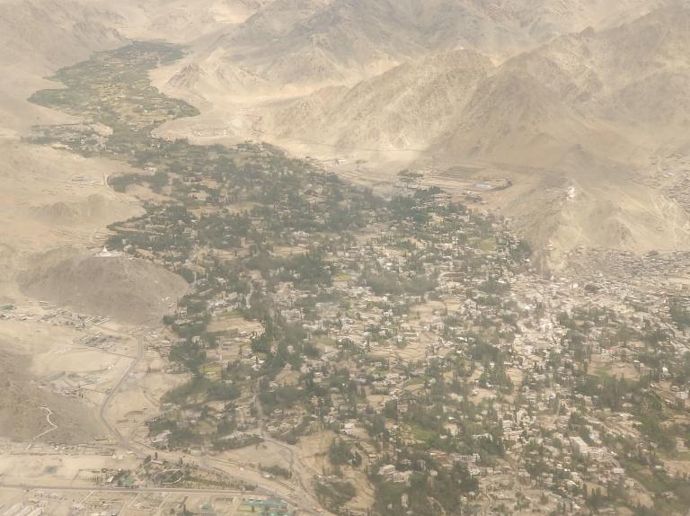 View of Leh city just before landing
