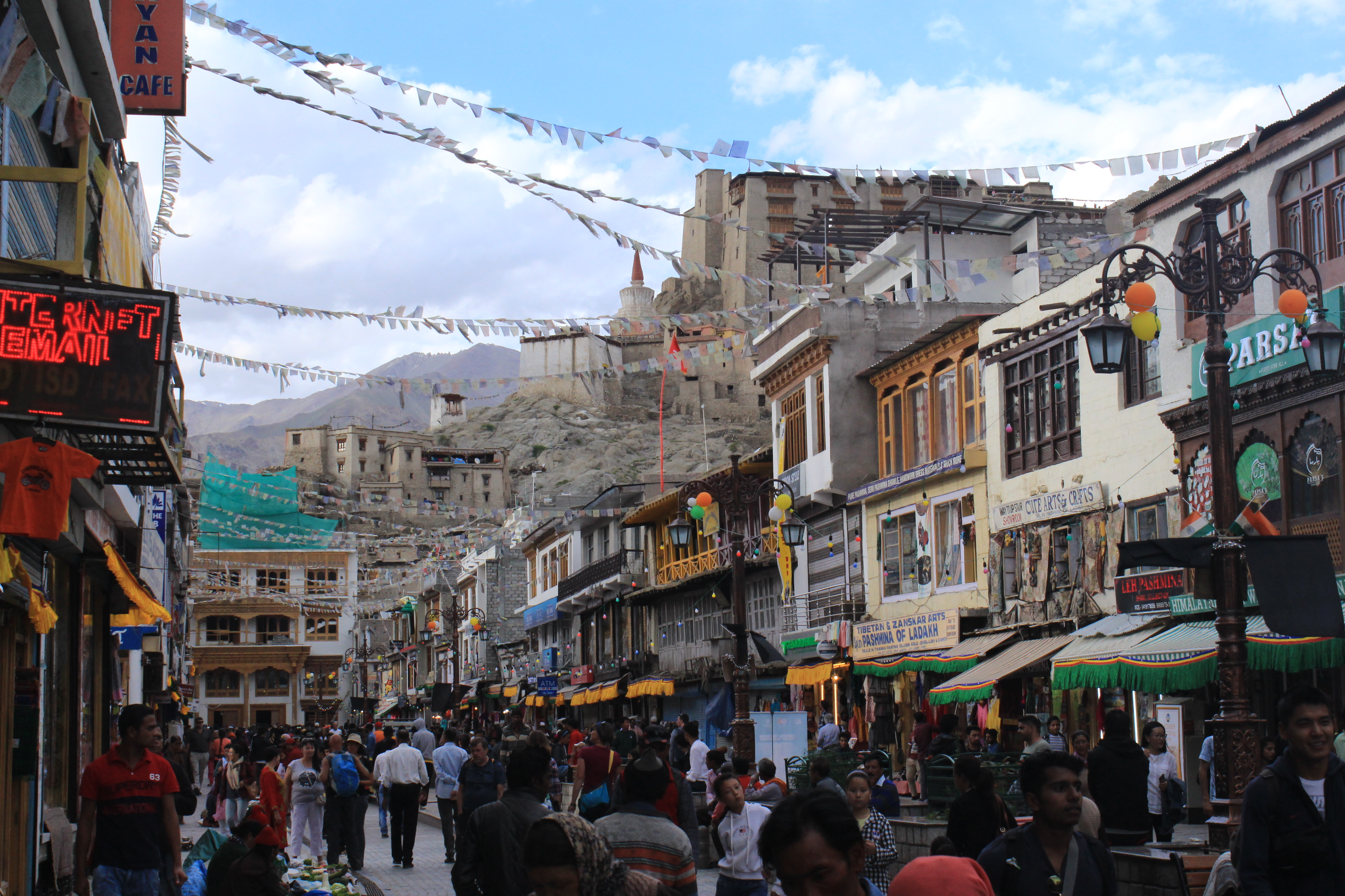 Leh Market with Leh Palace in the background