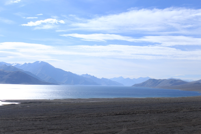View of Pangong Lake early morning. This is on the way to Hanle.